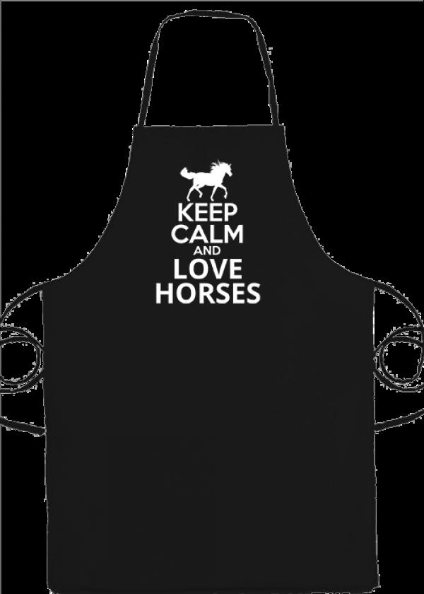 Kötény Keep calm and love horses lovas fekete