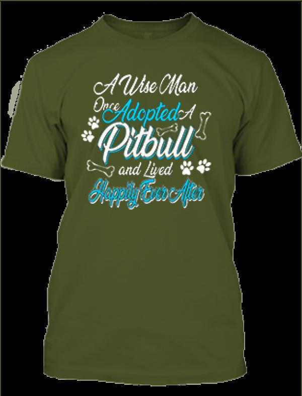 Férfi póló Adopted pitbull sötétzöld
