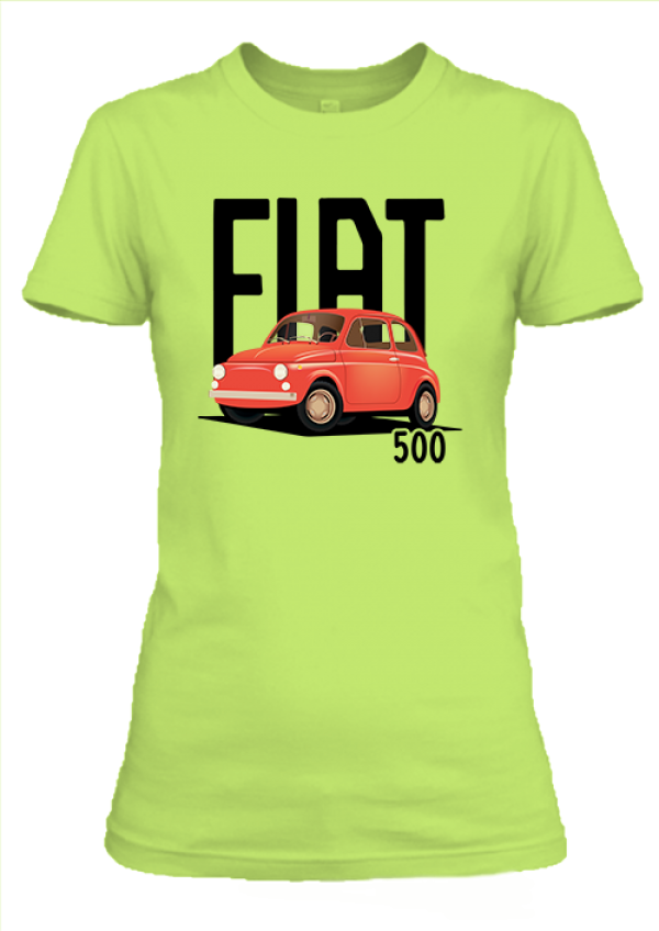 Fiat 500 női póló almazöld