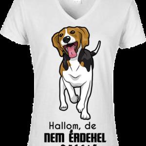 Hallom, de nem érdekel beagle – Női V nyakú póló