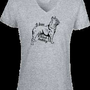I love french bulldog – Női V nyakú póló