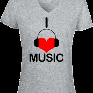 I love music – Női V nyakú póló
