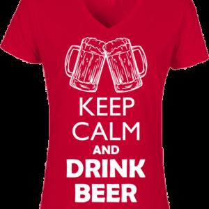 Keep calm beer – Női V nyakú póló