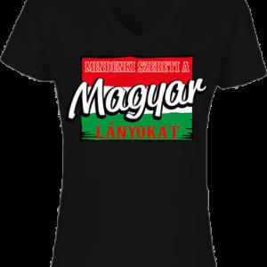 Mindenki szereti a magyar lányokat – Női V nyakú póló