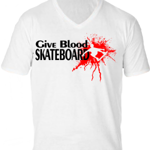 Give blood skateboard -Férfi V nyakú póló