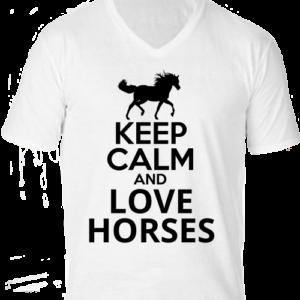 Keep calm and love horses lovas -Férfi V nyakú póló