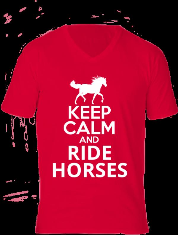Póló Keep calm and ride horses lovas piros