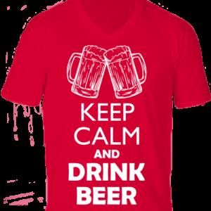 Keep calm beer sör -Férfi V nyakú póló