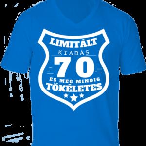 Limitált kiadás 70 -Férfi V nyakú póló – S, Királykék