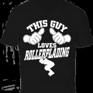 This guy loves rollerblading görkorcsolya-Férfi V nyakú póló