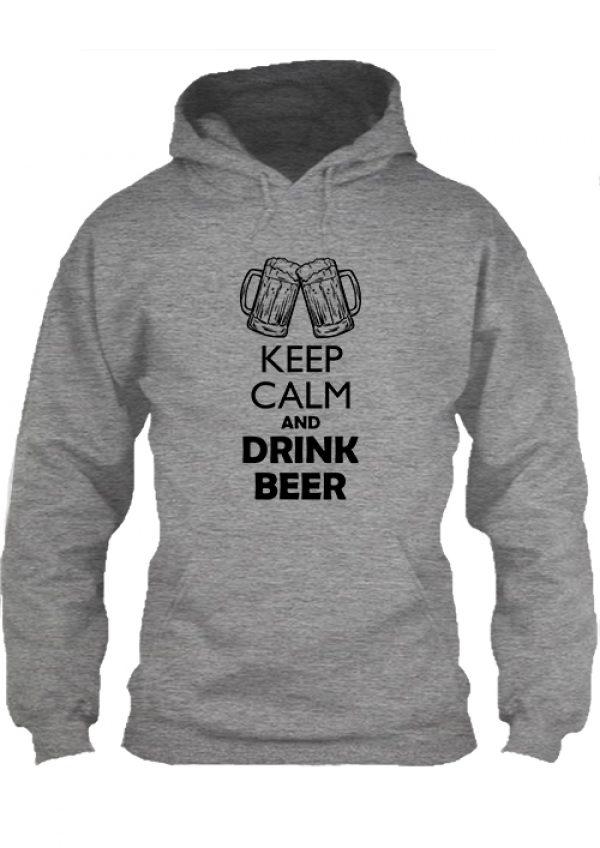 Pulóver Keep calm and drink beer sör szürke