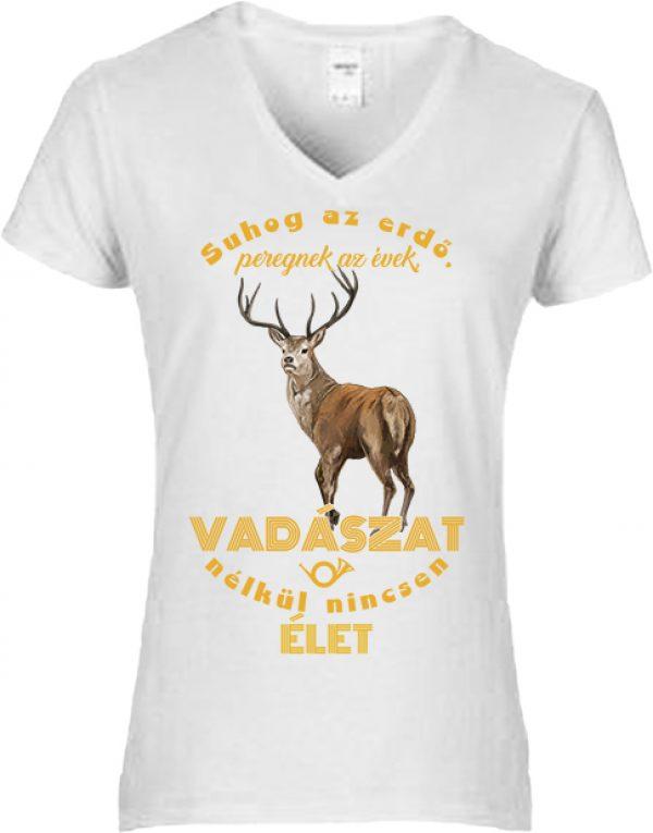 Póló Suhog az erdő szarvas vadászat fehér