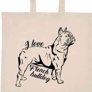 I love french bulldog francia bulldog – Basic rövid fülű táska