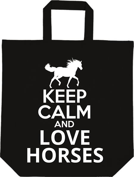 Táska Keep calm and love horses fekete