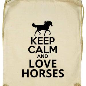 Keep calm and love horses lovas- Basic tornazsák
