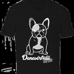 Denevérfülű sármőr francia bulldog -Férfi V nyakú póló