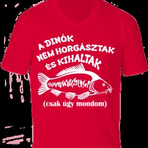 A dínók kihaltak_horgászat-Férfi V nyakú póló