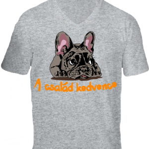 A család kedvence, francia bulldog-Férfi V nyakú póló
