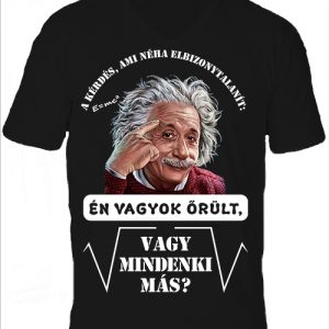 Mindenki őrült Einstein- Férfi V nyakú póló