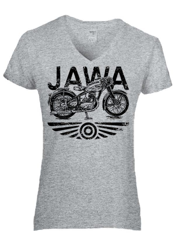 Női V nyakas póló Jawa szürke