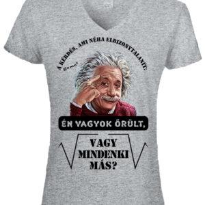 Mindenki őrült Einstein- Női V nyakú póló