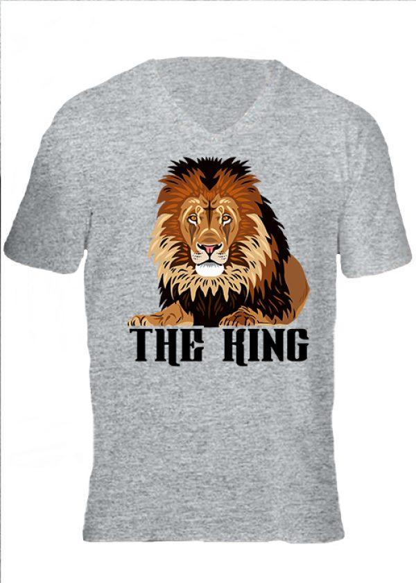 Férfi V nyakú póló The king szürke