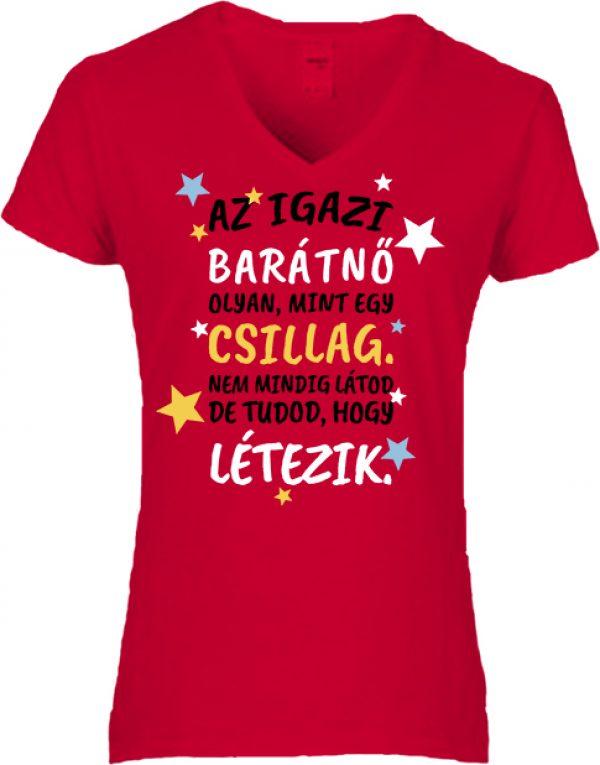 Női póló V nyakú Az igazi barátnő piros