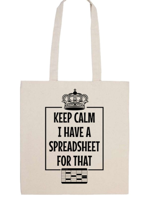 Táska hosszú fülű Keep calm I have a spreadsheet natúr