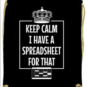 Keep calm I have a spreadsheet- Basic tornazsák