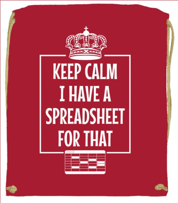 Tornazsák Keep calm I have a spreadsheet piros