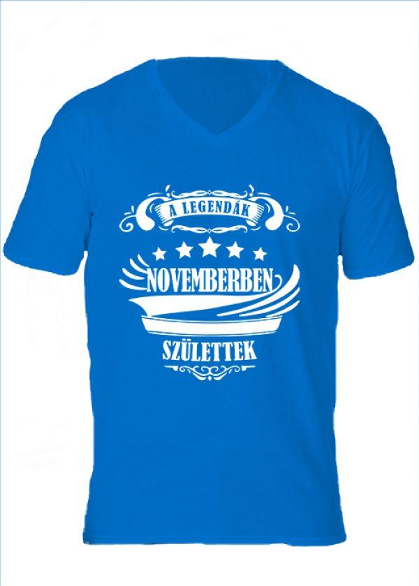 Férfi V nyakú póló A legendák novemberben születtek királykék