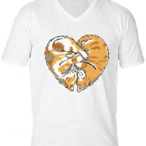 Cica szív-Férfi V nyakú póló