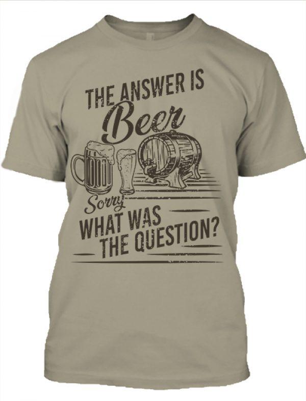 Férfi póló The answer is beer khaki