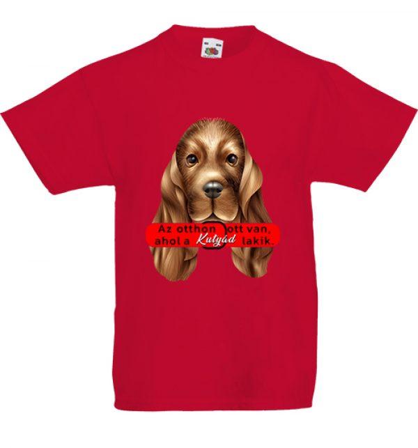 Gyerekpóló Az otthon kutyával piros
