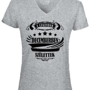 A legendák decemberben születtek-Női V nyakú póló