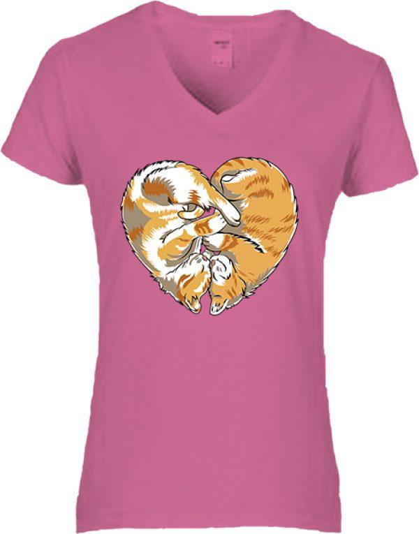 Női V nyakú póló Cica szív sötétrózsaszín