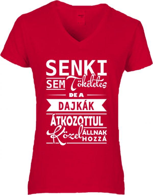 Női V nyakú póló Tökéletes dajkák piros