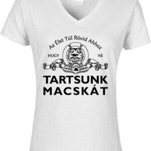 Tartsunk macskát-Női V nyakú póló