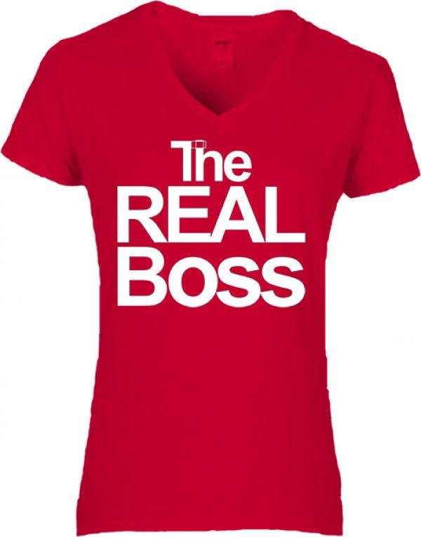 Női V nyakú póló The real boss piros