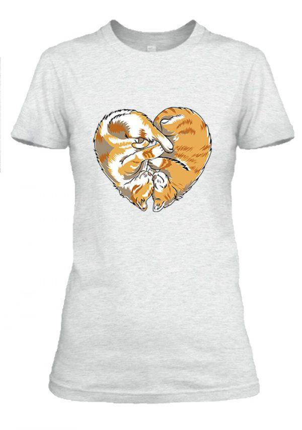 Női póló Cica szív hamuszürke