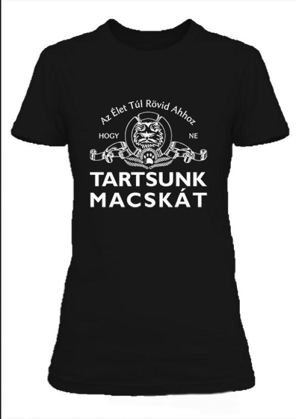 Női póló Tartsunk macskát fekete