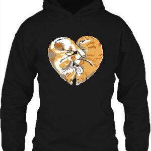 Cica szív – Unisex kapucnis pulóver