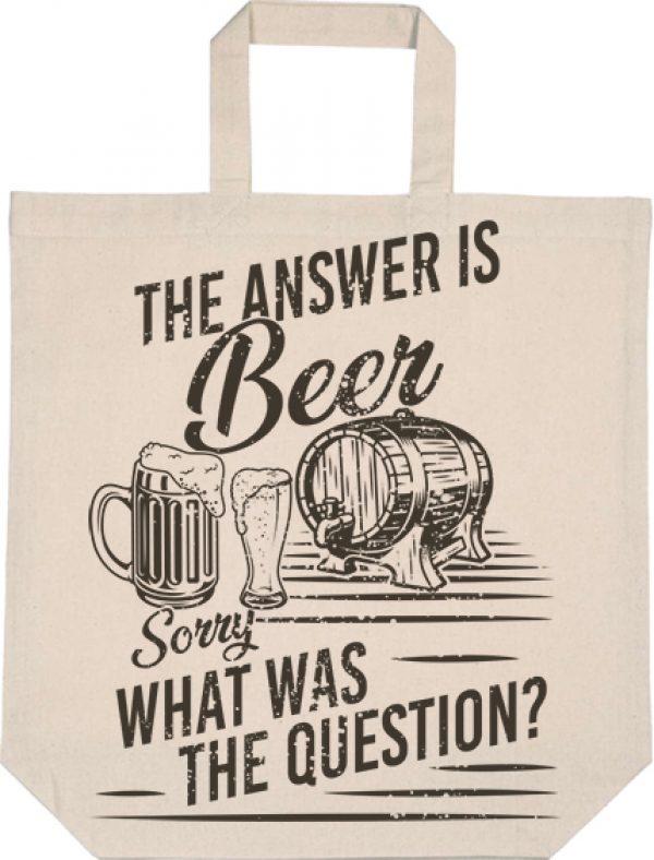Táska rövid fülű The answer is beer natúr