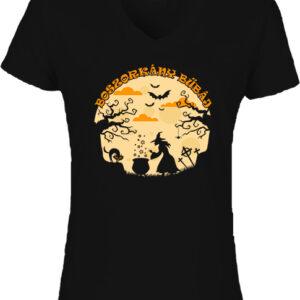 Halloween boszorkány bűbáj-Női V nyakú póló