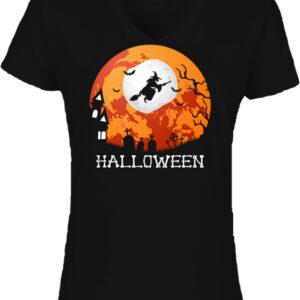 Halloween boszorkány-Női V nyakú póló