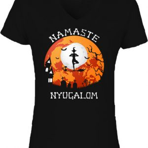 Halloween boszorkány jóga-Női V nyakú póló