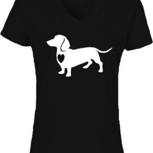 Tacskó-Női V nyakú póló