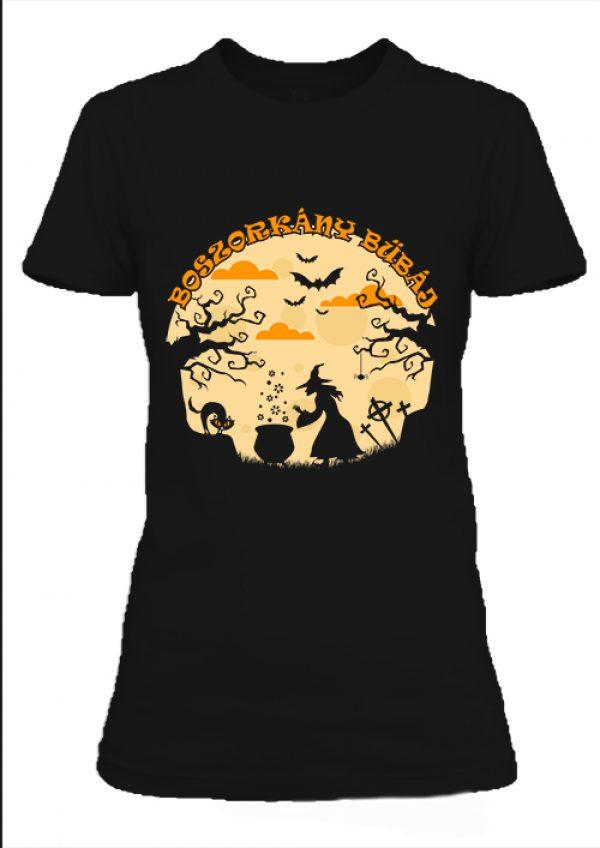 Női póló Halloween boszorkány bűbáj fekete