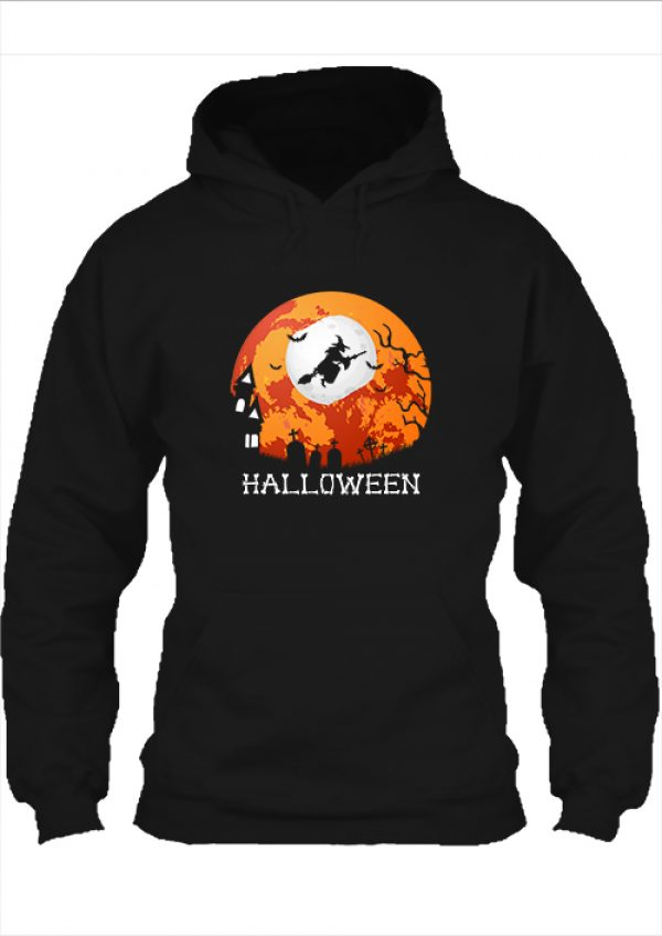Pulóver Halloween boszorkány fekete