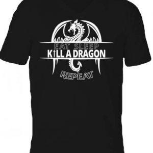 Eat sleep kill a dragon repeat – Férfi V nyakú póló